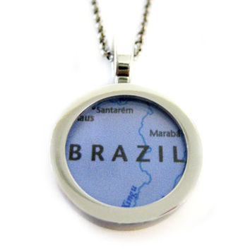 Brazil Map Pendant Necklace