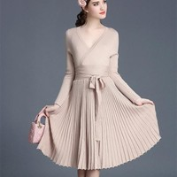 Fall autumn winter knit sweater dress long sleeve woman retro vintage elegant office dress