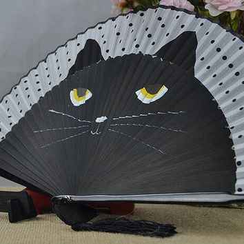Vintage Japanese Bamboo Silk Cat Hand Fan