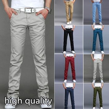 2017 Men's Casual/Leisure British Style Fashion Silm Fit Pants Business Trousers Dress Pant black blue