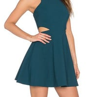 Turquoise Cutout Detail Mini Dress