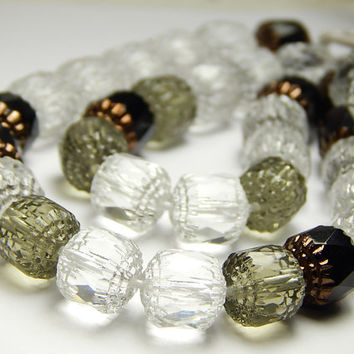 10 Pcs - 10mm Mixed Cathedral Beads - Crystal/Gray/Black - Czech Glass Beads - Barrel Beads - Glass Beads - Jewelry Supplies