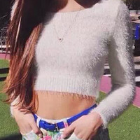 White Mohair Long Sleve Cropped Sweater