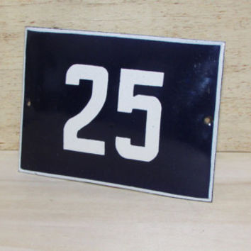 Vintage French Blue House Number, Door Number 25, Preservede French Enameled Sign Number 25, Street Sign Number 25, Blue Enamel Metal Plate