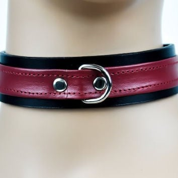"D Ring with Red Strap Choker Fetish Bondage Leather Collar 1"" Wide"