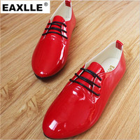 Patent Leather Red Color Women Flat Shoes Plus Size New Casual Lace up Candy Colors Student Shoes Super Soft  Women Flat Shoes