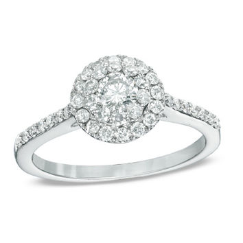 3/4 CT. T.W. Diamond Double Frame Engagement Ring in 14K White Gold