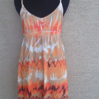 summer  spring beach dress orange cream and brown bold design rope straps size large empire waist spandex stretch polyester blend