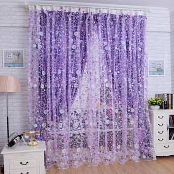 VONFC9 Super Deal  Print Floral Voile Door Curtain Window Room Curtain Divider Scarf XT