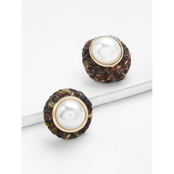 Gold Faux Pearl Round Stud Earrings