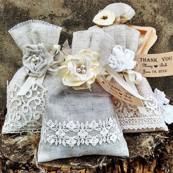 Wedding Favors gifts Wedding Favor Bags linen lace and flower Bags Wedding Favor Bag Rustic Wedding Personalized Favor Bags rustic decor