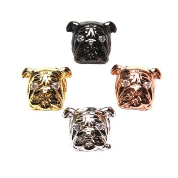 1pc 11*13mm Cute Pug Pet Dog Spacer Beads Copper Crystal Shar Pei Bracelet Charms Necklaces Pendants DIY Jewelry Making