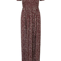 Burgundy Off Shoulder Split Side Floral Maxi Dress