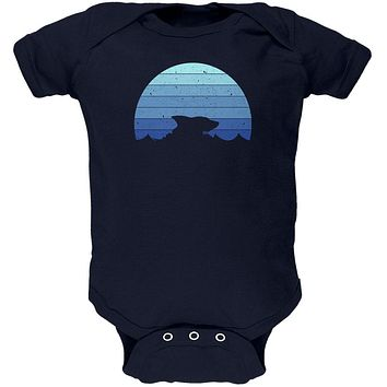 Ocean Shark Retro Sunset Blue Soft Baby One Piece