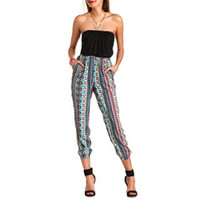 STRAPLESS TRIBAL PRINTED JUMPSUIT