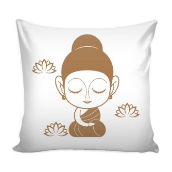 BUDDHA LADY MEDITATING * Cute Funny Gift  * Yoga Statement White Pillow Cover 16""
