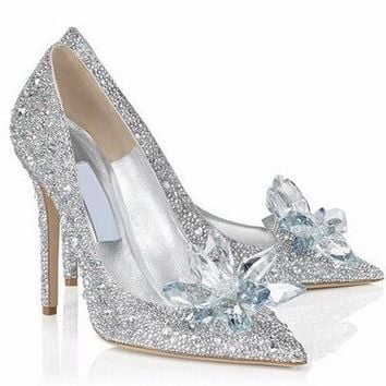 Posh Girl Cinderella Beaded Glass Pumps