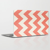 Vintage Coral Chevron Laptop & iPad Skin by Ann B.