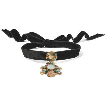 Erickson Beamon - Hunky Dory gold-plated, velvet, crystal and enamel choker