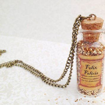 Harry Potter Inspired Felix Felicis Potion. Liquid Luck. Small Glass Bottle. Potion. Brass Chain. Gold. Vintage Style. Long Necklace. Magic.