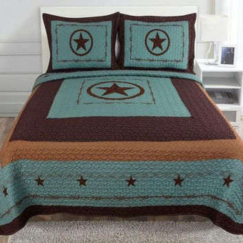 Luxury Western Barbedwire Turquoise Star Quilt Bedspread Comforter Set