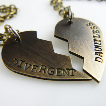 Divergent Necklace - Choose your Faction - Divergent - Dauntless - Candor - Amity - Abnegation - Erudite - Broken Heart Necklace