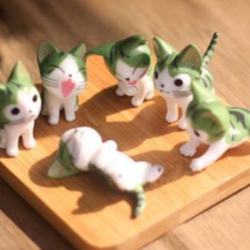 6 pcs /set Mini Cat Figurines Moss Micro World Bonsai Garden Ornament Landscape