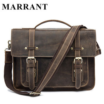 Genuine Leather bag Crazy Horse Men Bags Handbag Shoulder 13inch Laptop crossbody Bag Men's Briefcases Tote Men Messenger Bags