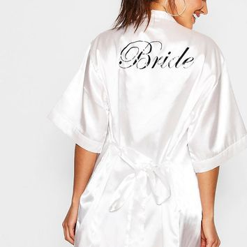 Satin Bride Robe | Boohoo