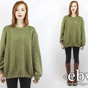 Vintage 90s Olive Green Oversized Sweater Oversized Knit S M L Vintage Sweater Vintage Pullover Vintage Jumper Green Sweater Chunky Knit