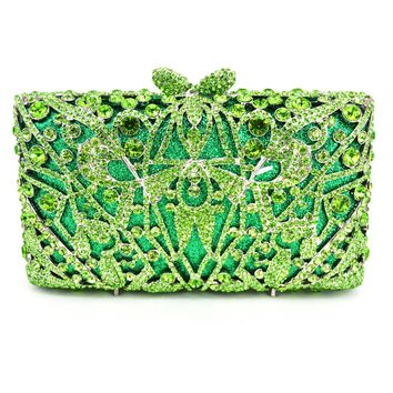 LaiSC 2016 women green diamante Clutch evening bags Gold crystal Clutch bags banquet bags women soiree handbag prom Bling  88397