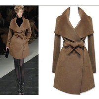 Turn-down Collar Belt Thick Slim Mid-length Coat