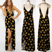 New summer sexy Women printing daisy V neck backless dress -0522