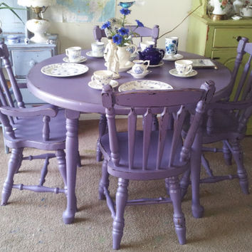Purple Antique Shabby Chic Mahogany Dining Table & Chairs. Hand-painted furniture/upcycle/distressed/eco/country/farm/vintage/wood/primitive