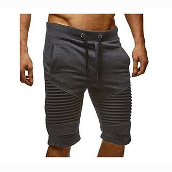 Ripped pleated hip hop short joggers pants