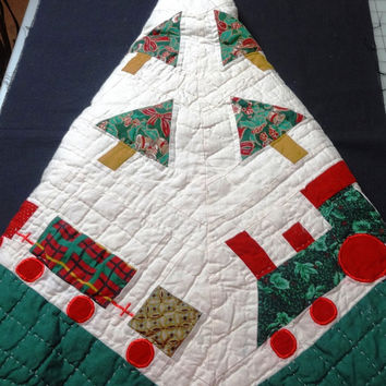 Vintage 1980s or 1990s Quilted Hand Made Christmas Tree Skirt in Railroad Train Theme in Red, Green, and Tan Appliques