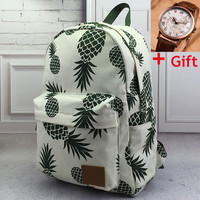 Pineapple Printed Backpack + Free Gift World Map Watch Christmas Gift