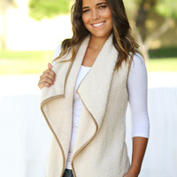 Khaki Faux Fur Open Vest