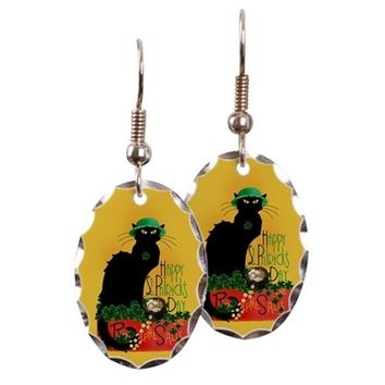 CHAT NOIR ST PATRICKS DAY EARRING