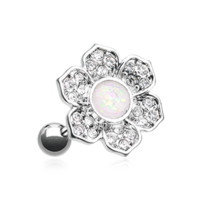 Opal Avens Flower Cartilage Tragus Helix Earring 18ga Surgical Steel