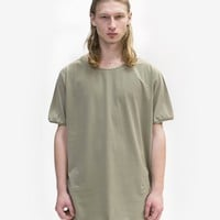 Basic Straight-Bottom Short Sleeve Tee in Light Army