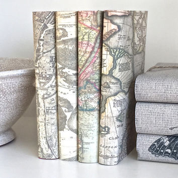Decorative books -  Vintage map books - Book Decor - Custom book covers - Interior Design - Custom book jackets - Neutral Books - Book Set