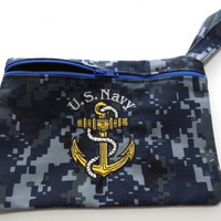 Embroidered Navy NWU Zip Pouch Gadget Purse Cosmetic Bag