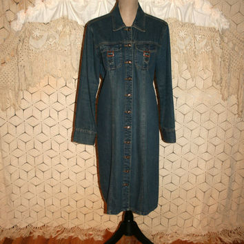Vintage Long Sleeve Denim Dress Button Up Duster Coat Large Women Dresses Western Boho Cowgirl Size 12 Size 14 Dress Large Vintage Clothing
