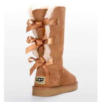 UGG Trending Women Cute Three Bowknot Wool Warm Snow Boots Shoe I