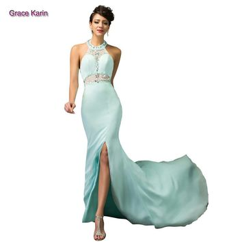 2015 GK New High Neck halter design Chiffon Light Blue high split long mermaid prom dress Sexy see through waist backless back