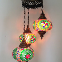 Traditional Mosaic Chandelier Lamp with 3 Hand made Mosaic Bulbs, Turkish lamp, Lantern lamp, Romantic lamp, Hanging Lamp, Gypsy Chandelier