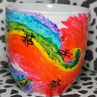 Tie Dye Swirled Themed Hand painted coffee mug
