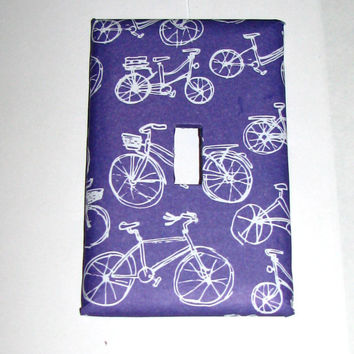 Light Switch Cover - Light Switch Plate Bicycle Purple