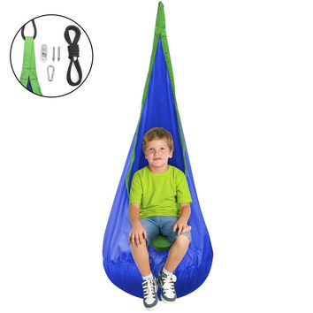 Sorbus Kids Child Pod Swing Chair Nook Tent - Hanging Seat Hammock Nest for I...